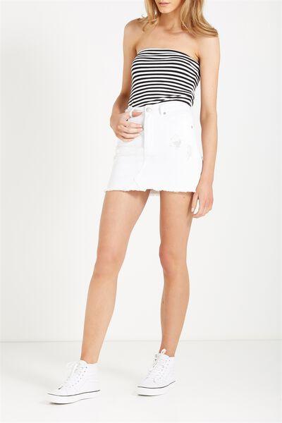 The Re-Made Mini Denim Skirt, WHITE RIPS