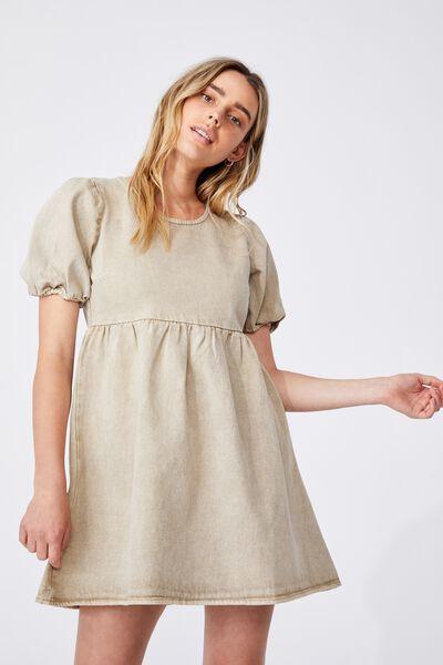 Denim Open Back Babydoll Mini Dress, WASHED TAUPE