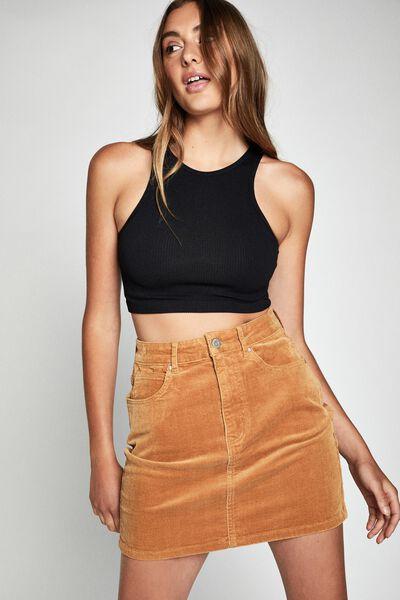 Woven Havana Cord Mini Skirt, APPLE CINNAMON