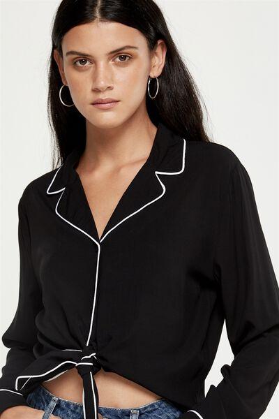 Tara Wrap Tie Front Top, BLACK