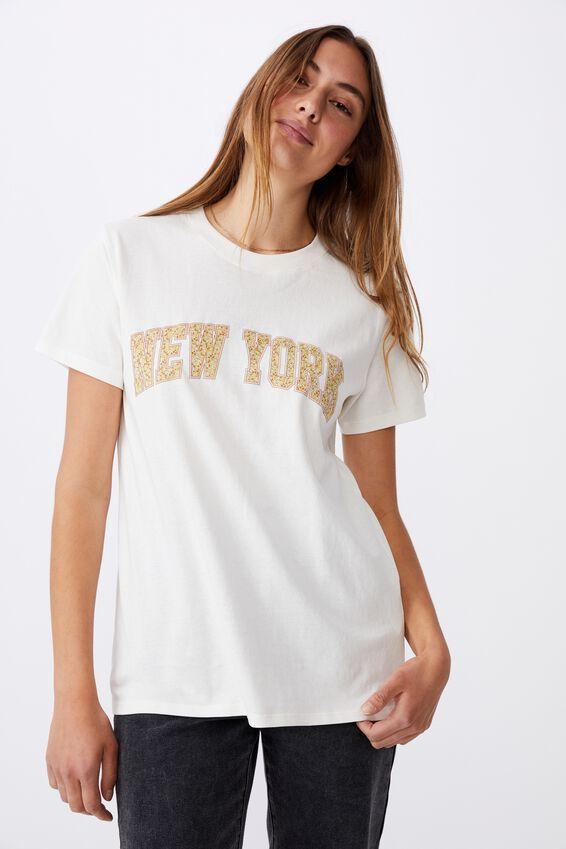 Classic Slogan T Shirt, NEW YORK/GARDENIA