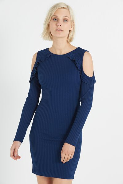 Cory Frill Long Sleeve Mini Dress, SPACE NAVY RIBBED TWIST