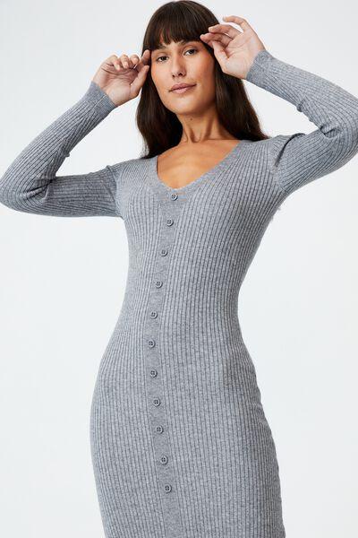 Tommy Long Sleeve Button Through Knit Midi Dress, SUNFADED DENIM MARLE