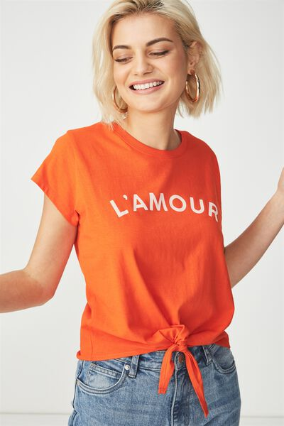 Tbar Tie Front Tee, L'AMORE/MANDARIN RED