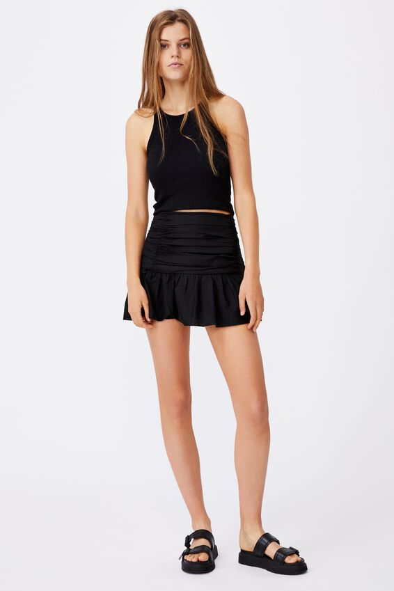 Claire Ruched Mini Skirt, BLACK
