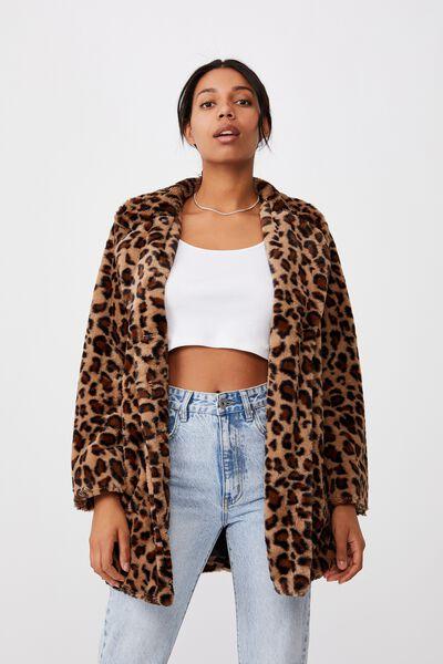 Animal Faux Fur Mid Coat, FUR LEOPARD