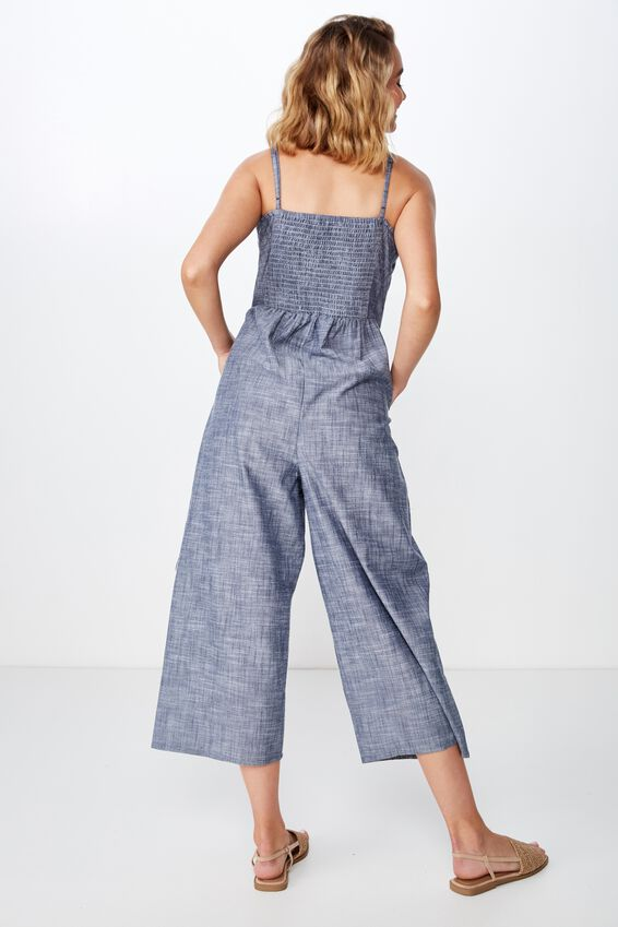 Woven Tabatha Tie Front Culotte Jumpsuit, CROSS HATCH NAVY