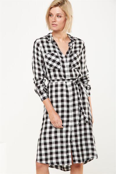 Woven Miley Check Button Midi Shirt Dress, MONICA SQUARE BLACK