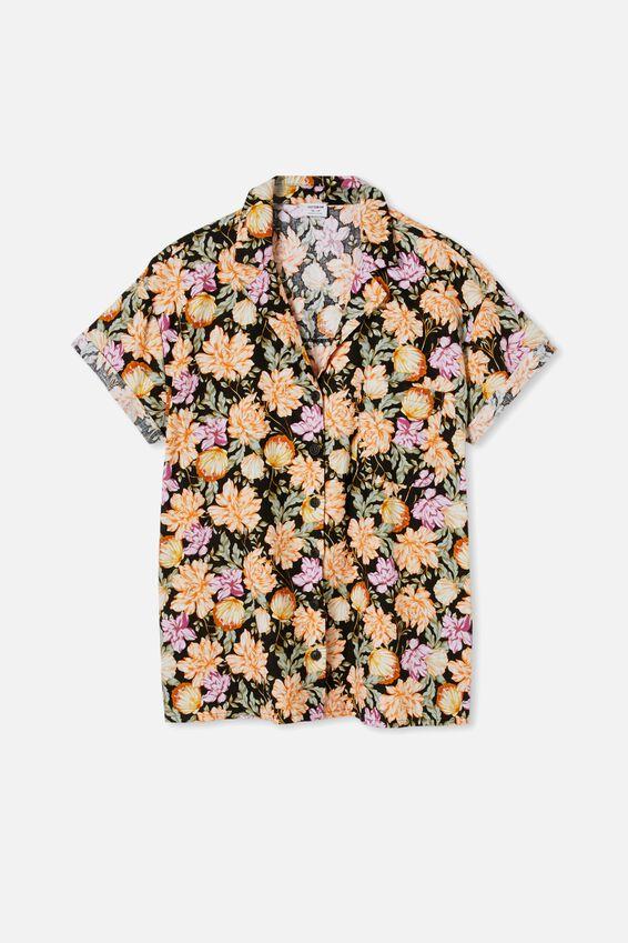 Poolside Shirt, KAIA SHELL BLACK