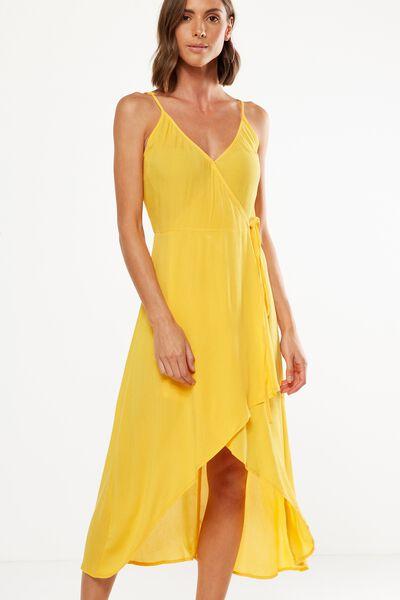 Woven Lucia Strappy Wrap Midi Dress, SUNFLOWER