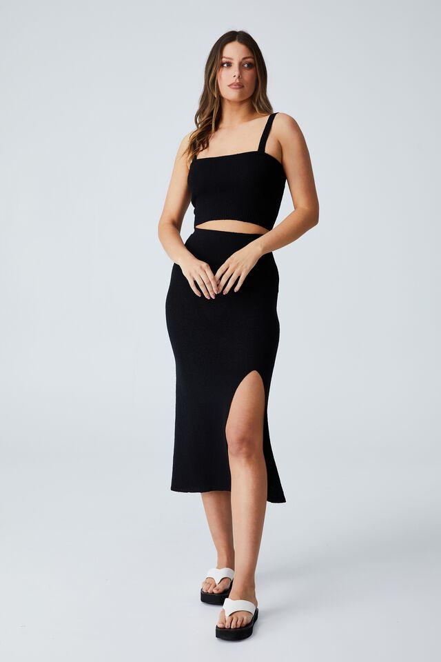 Set Up Knit Midi Skirt, BLACK