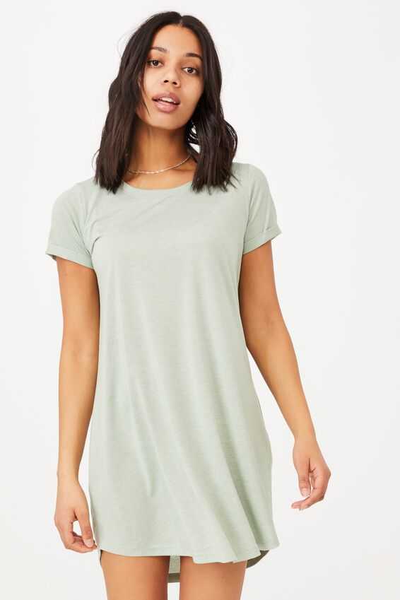 Tina Tshirt Dress 2, LUSH GREEN MARLE