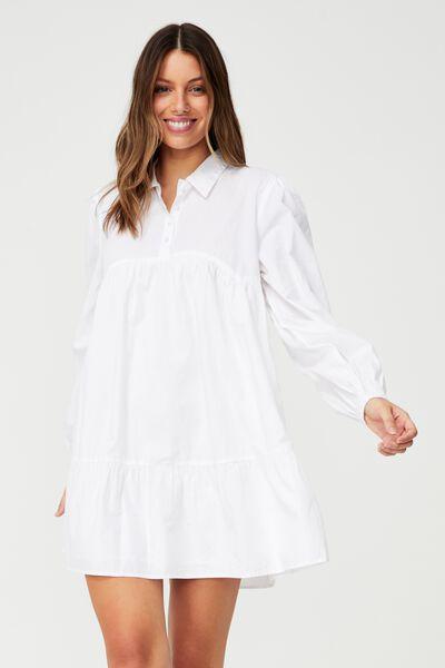 Woven Ls Babydoll Mini Shirt Dress, WHITE