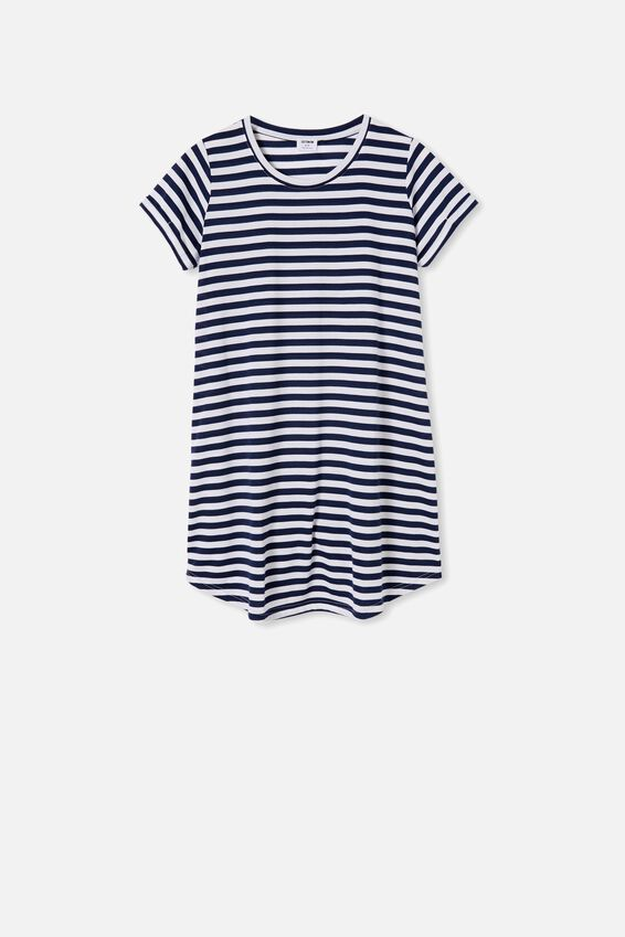 Tina Tshirt Dress 2, TARA STRIPE MEDIEVAL BLUE/WHITE