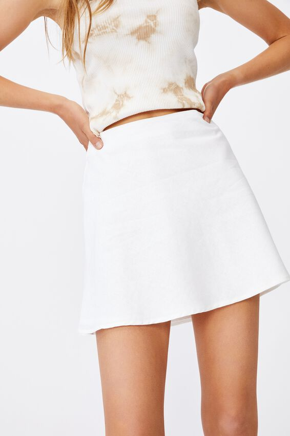 Simple Slip Mini Skirt, WHITE