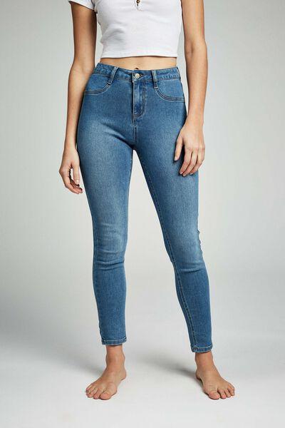 Mid Rise Super Stretch Jean, BELLS BLUE
