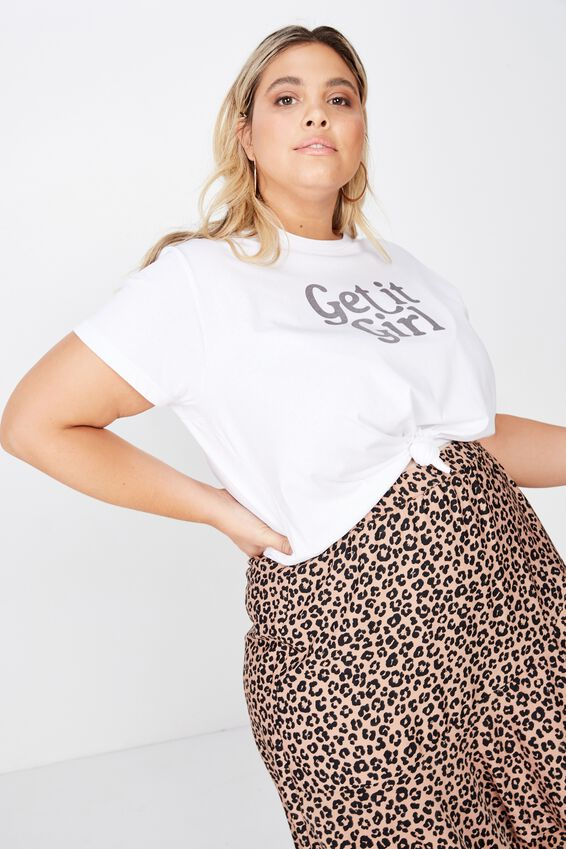 Curve Graphic Tee, GET IT GIRL/WHITE