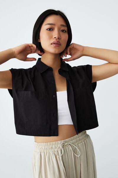 Petite Sunset Cropped Shirt, BLACK