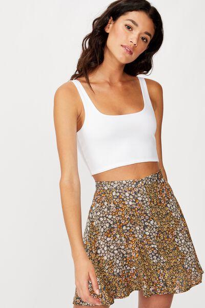 Allegra Button Through Mini Skirt, MANDY MULTI DITSY EBONY