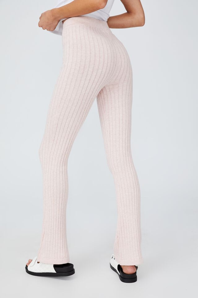 Cotton Vegetable Dye Ribbed Flare Pant, MULBERRY PINK MARLE