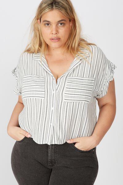 Curve Emily Chopped Short Sleeve Shirt, ANGIE STRIPE MOOD INDIGO