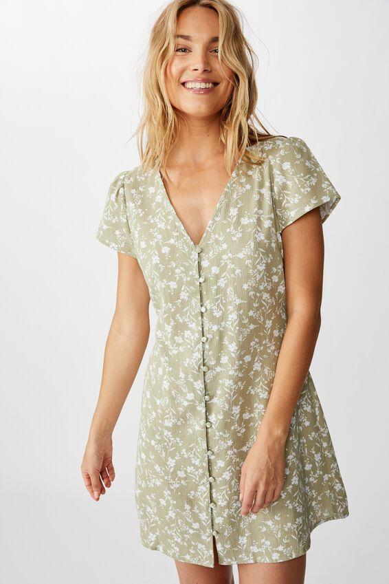 Woven Juliette Short Sleeve Mini Dress, INDI FLORAL TEA