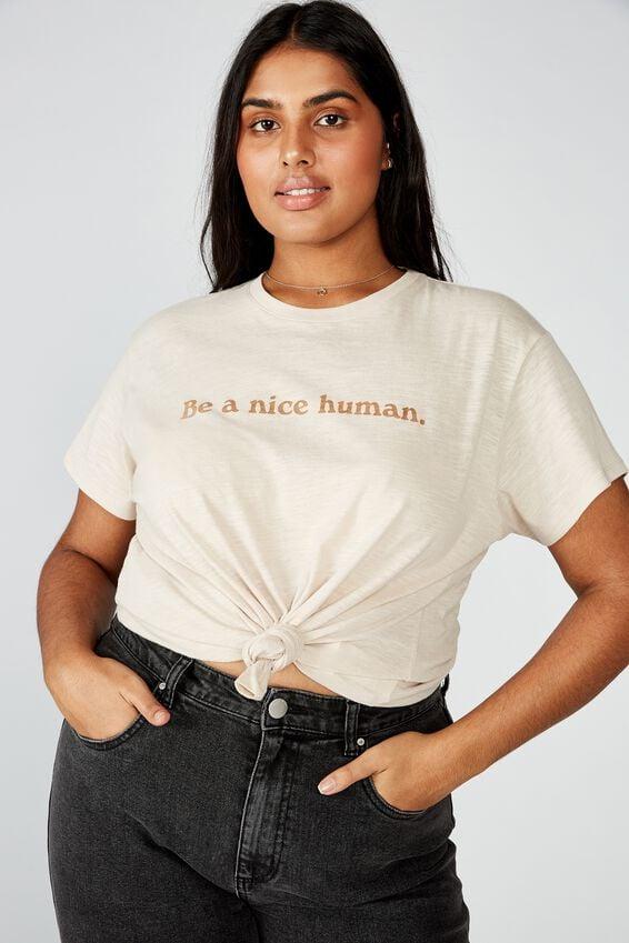Curve Graphic Tee, BE A NICE HUMAN/GRAY MORN