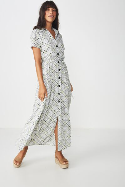 Woven Bernie Button Through Maxi Dress, LILY CROSS CHECK LIME