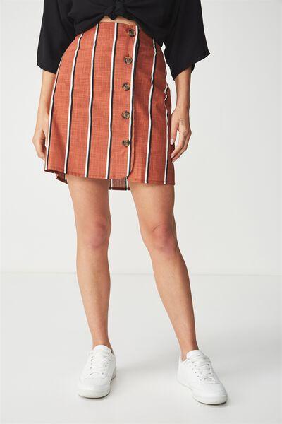 Woven Mini Military Skirt, GEMA STRIPE COPPER BROWN VERTICAL