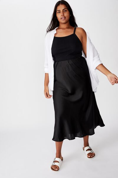 Curve Belle Midi Skirt, BLACK