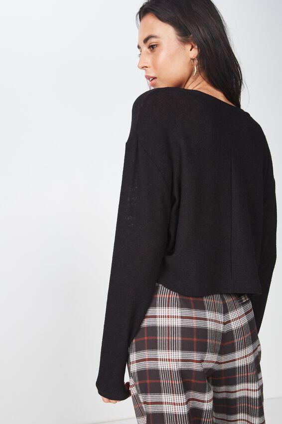 Arna Textured Boxy Long Sleeve, BLACK