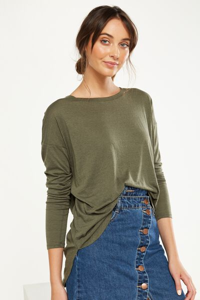 Kelly Long Sleeve Top, WASHED ARMY GREEN