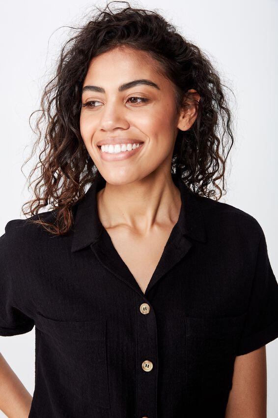 Erin Short Sleeve Shirt, BLACK