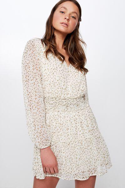 Woven Lexia Long Sleeve Mini Dress, ELLA FLORAL CANNOLI CREAM