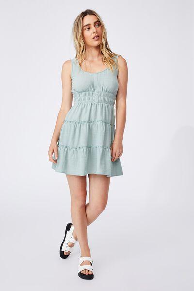 Woven Petite Kayla Tiered Sleeveless Mini Dress, LUSH GREEN