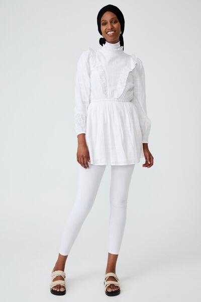 Woven Taya Long Sleeve Ruffle Neck Mini Dress, WHITE
