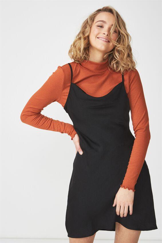 Woven Vera Cowl Neck Mini Dress, BLACK