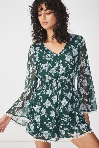 Woven Laurie Long Sleeve V Neck Playsuit, ELLIE FLORAL SMALL TERKKING GREEN