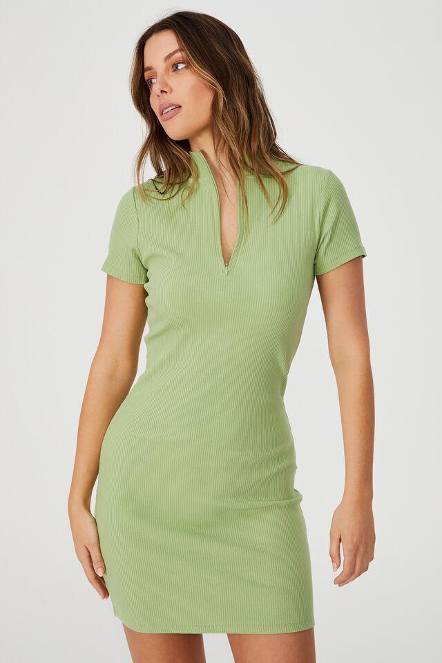Ziggy Zip Neck Short Sleeve Mini Dress, DUSTY MINT