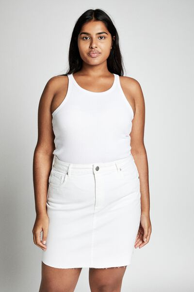 Curve Denim Skirt, VINTAGE WHITE