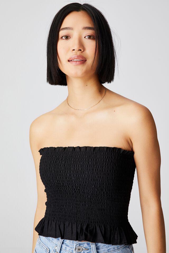 Sunseeker Shirred Boob Tube Petite, BLACK