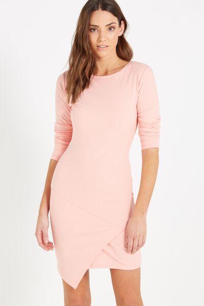 Riley Long Sleeve Assymetric Bodycon Dress, PEACH
