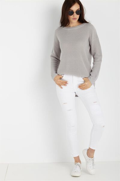Mid Rise Cropped Skinny Jean, WHITE RIPS