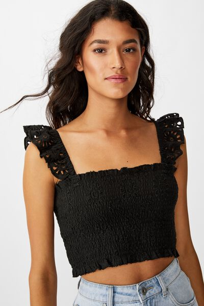 Broderie Cropped Cami, BLACK
