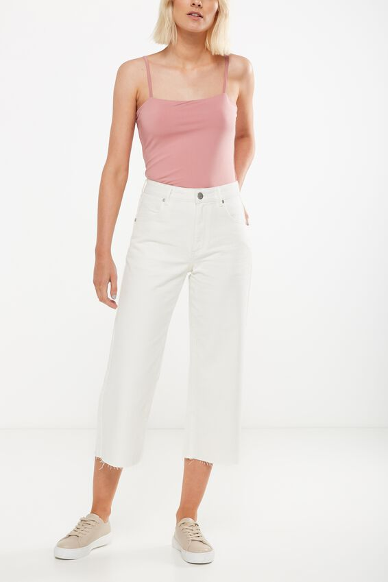 Mid Rise Wide Leg Crop Jean, 90S WHITE
