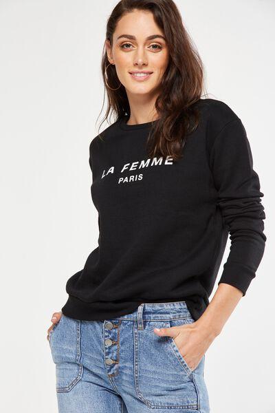 Ferguson Graphic Crew Sweater, LA FEMME/BLACK