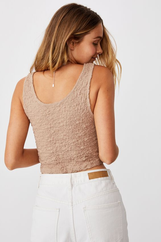 River Textured Tank Top, STONE BROWN