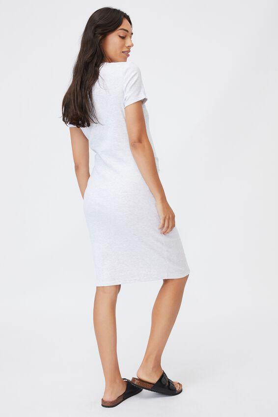Maternity Rib Henley Short Sleeve Dress, LIGHT GREY MARLE