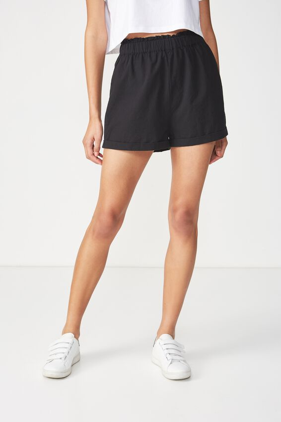 Maisy Paperbag Short, BLACK