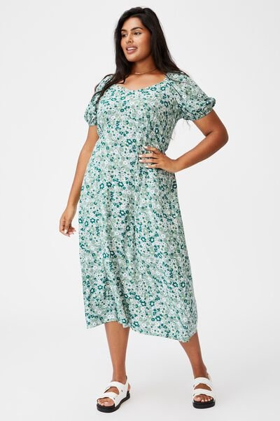 Curve Mary Midi Dress, WINDSOME DITSY LUSH GREEN